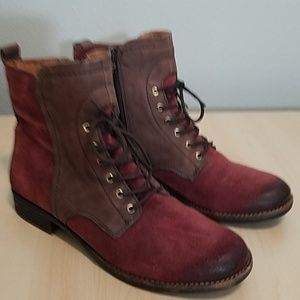 Naya booties suede wine and brown leather size 8.5